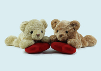Prone Couple Bear Toy with Hearts