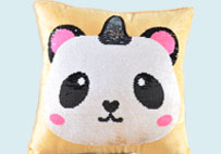 Sequin Unicorn Panda Yellow Plush Pillow