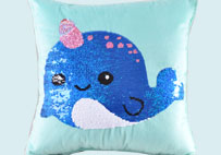 Sequin Unicorn Whale Blue Plush Pillow