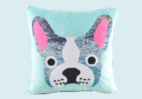 Cute Dog Sequin Plush Pillow