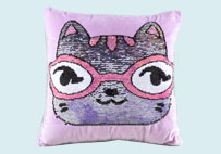 Cute Glasses Cat Sequin Plush Pillow